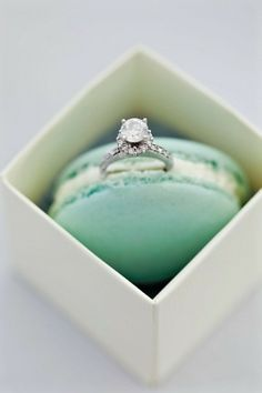 Never saw this photo -op before. Very pretty- the ring is captured well in this picture, and the mint green macaroon is a creative idea/background