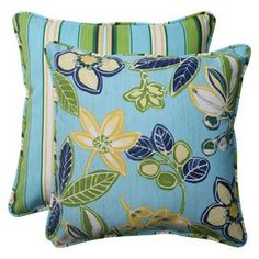 Set of two indoor/outdoor throw pillows with botanical motifs and reverse striping.  Product: Set of 2 pillowsConstruction Material: Polyester cover and recycled virgin polyester fiber fillColor: Blue, green and aquaFeatures:  Inserts includedReverses to striped designSuitable for indoor and outdoor useWithstands UV rays, resists mold, mildew, stains, and moistureMade in the USA Dimensions: 18.5 x 18.5 eachCleaning and Care: Spot clean or hand wash fabric with mild detergent