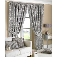 Cream Damask Curtains Uk - The Best Image of Curtain Silver Curtains, Damask Curtains, Plaid Curtains, Beige Curtains, Green Curtains, Lined Curtains, Curtains With Blinds, Bedroom Curtains, Drapery
