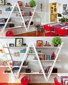 Ladders, paint and plywood. Love this idea