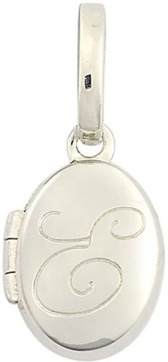 "Zales Personality Charms Cursive ""E"" Initial Oval Locket Charm in Sterling Silver"