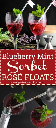 Blueberry Mint Sorbet Rose Floats Wine, cocktail, craft cocktails, sorbet, ice cream, dessert, champagne, mint simple syrup, blueberries, ice cream float, boozy float, recipe, easy, frozen dessert