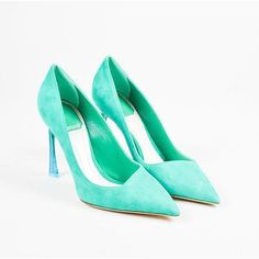 Pre-Owned Christian Dior Nib $820 Green Blue Suede Ombre Lucite Heel... ($405) ❤ liked on Polyvore featuring shoes, pumps, green, suede pointed toe pumps, green suede shoes, blue suede pumps, blue shoes and green pumps