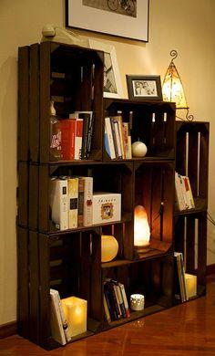 67 ideas fruit box decoration bookshelves for 2019 Fruit Box, Fruit Crates, Crate Shelves, Diy Home Decor Projects, Decoration Table, Decorations, Pallet Furniture, Home Organization, Bookshelves