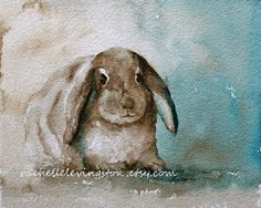 watercolor Painting of bunny PRINT animal painting Brown bunny art PRINT in vintage colors  11 x14 bunny rabbit painting of rabbit