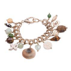 Jasper, Prehnite, South African Tigers Eye, Jade, Shell Bracelet in Goldtone (8 in) TGW 2.35 Cts.