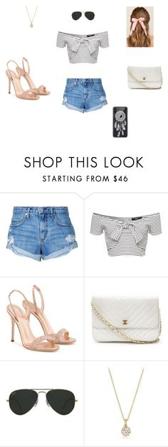 """summer bling"" by sissyart101 ❤ liked on Polyvore featuring Nobody Denim, Giuseppe Zanotti, Chanel, Ray-Ban, Revé, David Yurman and Francesca's"