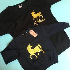 Unicorn Sweaters: Black, matching unicorn sweatshirts, matching unicorn outfits, unicorn sweater, unicorn sweatshirt, unicorn girls jumper Keepsake Baby Gifts, New Baby Gifts, Girls Jumpers, Jumpers For Women, Olive Clothing, 1st Birthday Gifts, Unicorn Outfit, Cake Smash Outfit, Toddler Gifts