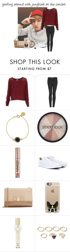 """""""goofing around with jungkook at the concert"""" by erraoctober17 ❤ liked on Polyvore featuring Topshop, Marc by Marc Jacobs, Smashbox, Urban Decay, Converse, Salvatore Ferragamo, Casetify, Victoria's Secret, Forever 21 and women's clothing"""