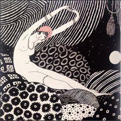 """Dessin de Lepape, """"La Paresse"""" 1911, encre de Chine et gouache 19x18cm"""
