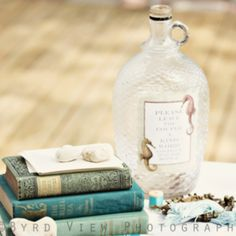 Message in a Bottle in lieu of a guest book.  Styling by Melanie Whittaker