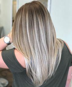 Straight+Ash+Blonde+Balayage+Hair