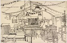 Ready for Christmas; Ready for Christmas: the Canteen under St. Martin's-in-the-Fields, 1941, by Edmund Knapp. This drawing shows the interior of an underground canteen under St Martin-in-the-Fields Church in London. Canteens like this would have provided shelter and refreshments for those who had been bombed out of their own homes, or who were working as fire-watchers or on ARP duties.