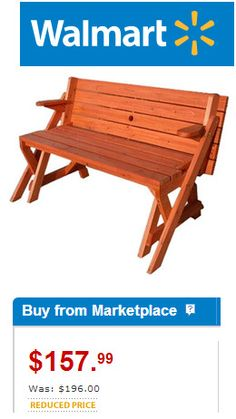 Seen the convertible picnic table benches? Here's where to buy one - or, download plans to MAKE one!