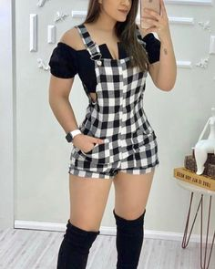 Trend Fashion, Look Fashion, Womens Fashion, Two Piece Rompers, Chic Outfits, Fashion Outfits, Denim Romper, Long Sleeve Romper, Rompers Women