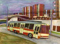'Trolleybus Škoda 14 Tr in Brno' by Lorenzo-CZ Canvas Prints, Framed Prints, Art Prints, Art Boards, Decorative Accessories, Colored Pencils, Travel Mug, Cities, Art Ideas