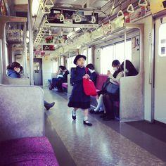 Girl on a train. Tokyo.