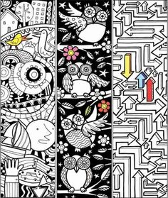 Free COLORING and DOODLING PRINTABLES~ Great children's activities for kids who love to color. Check out these bookmarks, and lots more!