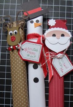 Candy Bar Wrappers, (but I'm thinking this would be great to incorporate onto my empty pringle can Santa's ---30 year old idea and going strong!............)