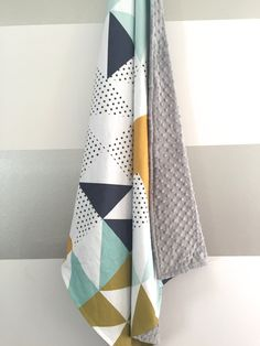 Mint black white navy minky baby blanket - gender neutral - geometric triangle cheater quilt - mustard olive gray nursery - baby shower gift by WilderAndBean on Etsy https://www.etsy.com/listing/231020064/mint-black-white-navy-minky-baby-blanket