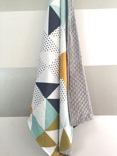 Mint black white navy minky baby blanket - gender neutral - geometric triangle cheater quilt - mustard olive gray nursery - baby shower gift by WilderAndBean on Etsy https://www.etsy.com/listing/231020064/mint-black-white-navy-minky-baby-blanket