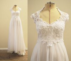 Vintage Bridal 1970's flowing chiffon wedding gown with Venice lace bodice