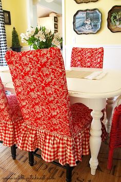 Red Toile and checks slipcovered dining room chairs. DIY painted table, tole trays, black buffalo check curtains, DIY home decor ideas Dining Room Chair Slipcovers, Dining Room Chairs, Chair Cushions, Ikea Dining, Kitchen Chairs, Office Chairs, Lounge Chairs, Swivel Chair, Casual Dining Rooms