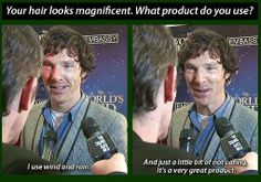 Benedict Cumberbatch -  I know I know! Not Hiddles but had to include this - too funny! Gif http://loki-stole-the-blue-box.tumblr.com/post/78568530004/luciawestwick-benedict-cumberbatch-reveals-his