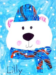 Ms. Davidson's K Winter Polar Bear Collage