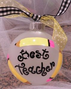 Hand Painted Christmas Ornament  Best Teacher by SassyPeasDesigns, $12.00