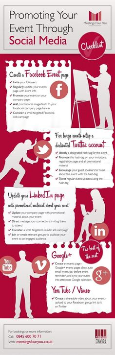 Checklist For Promoting Your Event Through Social Media (Infographic) - social media event promotion infographic - Event Marketing, Marketing Digital, Mundo Marketing, Marketing Mail, Marketing Trends, Internet Marketing, Social Media Marketing, Content Marketing, Marketing Quotes