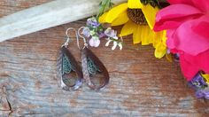 Pioneer Hammered Bronze Teardrop Earrings with Turquoise accents. Turquoise Accents, Teardrop Earrings, Wild Flowers, Bronze, Pistols, Jewelry, Products, Jewellery Making, Hand Guns