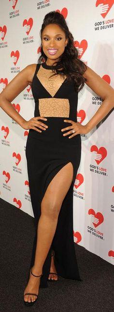 Jennifer Hudson's Michael Kors Black Lace Inset Gown