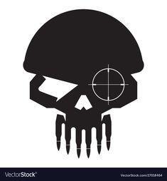 Skull military sniper with bullet teeth logo icon vector image on VectorStock Hawk Tattoo, P Tattoo, Lace Skull Tattoo, Camo Stencil, Teeth Logo, Skull Icon, Logo Image, Leather Working Patterns, Logo Desing