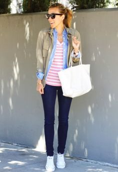 converse, jeans, white/pink striped shirt, chambray, extra layer