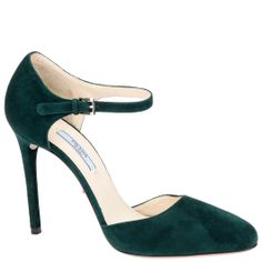 Prada ankle strap pumps in forest green suede with a stiletto heel. From autumn winter 2014. Available from Wunderl in Austria.