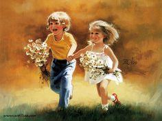 enfants de donald zolan painting Wallpaper