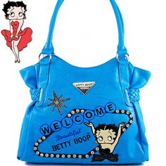 Click Here and Buy it on Amazon.com Price: $45.99 Amazon.com: Betty Boop Fashion Unique Betty Boop Character Embroidered Gemstones Rhinestone Studded Woven Drawstring Detailed Tote Satchel Shopper Handbag Purse in Blue: Clothing