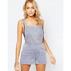 ASOS Chambray Dungaree Beach Playsuit (730 UYU) ❤ liked on Polyvore featuring jumpsuits, rompers, blue, blue rompers, beach romper, chambray romper, playsuit romper and asos romper