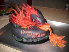 how to train your dragon monstrous nightmare | How to Train Your Dragon cake featuring Monstrous Nightmare.