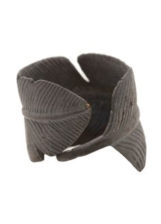 Black Feather Ring Matte Oxidized Finish by carpediemjewellery