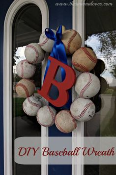 Adorable DIY Baseball Wreath via This Mama Loves