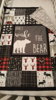 baby boy blankets This crib quilt is super soft with arrow minky on the back. Dont wake the Bear center panel with buffalo plaid and other fun Lumberjack fabrics around it. Quilt is a Baby Boy Crib Bedding, Baby Boy Cribs, Baby Boy Quilts, Baby Boy Blankets, Baby Boy Rooms, Baby Boy Nurseries, Crib Blanket, Swaddle Blanket, Modern Nurseries