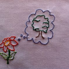 'the flower said I wish I was a tree' from 'treehugger' by Antsy Pants and Kimya Dawson. #Embroidery