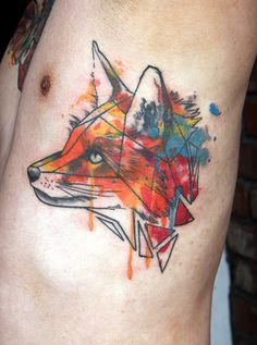 Watercolor Geometric Fox Tattoo