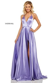 Deep-V-Neck Long Satin Prom Dress with Pockets 024f859f90c3