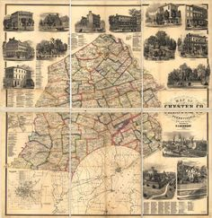 Chester County - Map of Chester Co. Pennsylvania, from Actual Surveys, Published by T.J. Kennedy, 1860 (222kb)