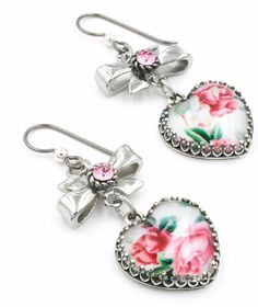 These lovely faux broken china earrings, in Pink Roses match the charm bracelet in this same style. Created with lovely images from vintage china teacups set into sterling silver frames, add light Ros