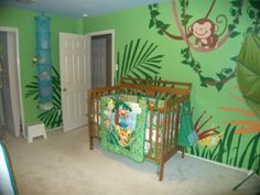 jungle theme... since we decided to put B in to K's room, we are going to have to paint over the bright Pepto-Bismol pink walls... this is cute, but would I really take the time to paint all the details on it?  Probably not... lol