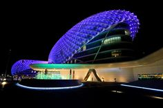 YAS Hotel stands in the middle of the new circuit. Arup Lighting designed  the lighting scheme for this yet another man made marvel in Abu d0a3a8e008